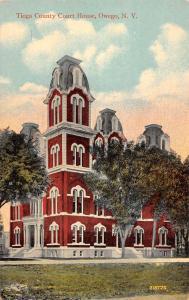 Owego New York Tioga Court House Street View Antique Postcard K82060