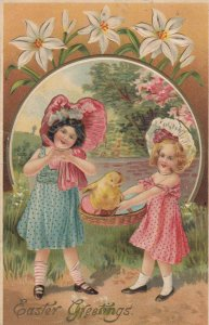 EASTER ; 2 Girls & Chick , 1908