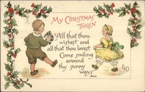 Ethel DeWees Christmas - Boy & Girl w/ Mistletoe1909 Red Cross Seal on Back