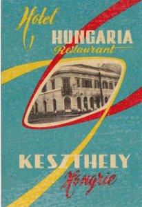 Hungary Keszthely Hotel Hungaria Vintage Luggage Label sk3636