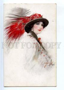 244435 ART NOUVEAU Fashion HEAD of Lady by BARRIBAL Vintage PC
