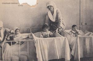 Chateau Thierry French Hospital Newborn Babies & Nurse Antique Postcard