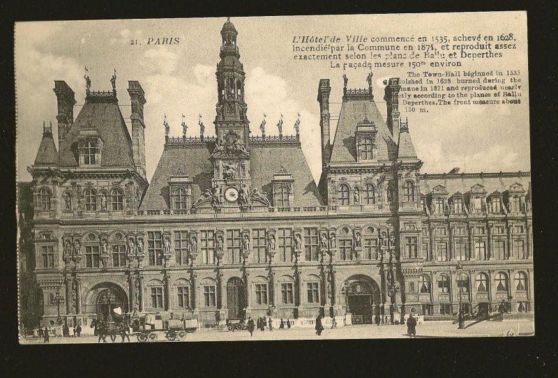 Vintage Paris France L'Hotel de Ville Photo Type Postcard