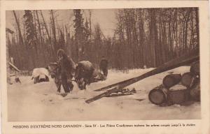 Missions D´Extreme-Nord canadien , Pretre et Freres Coadjuteur trainent les ...