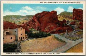 Vintage 1940s RED ROCKS, Colorado Postcard Gateway & Stairway to Amphitheatre