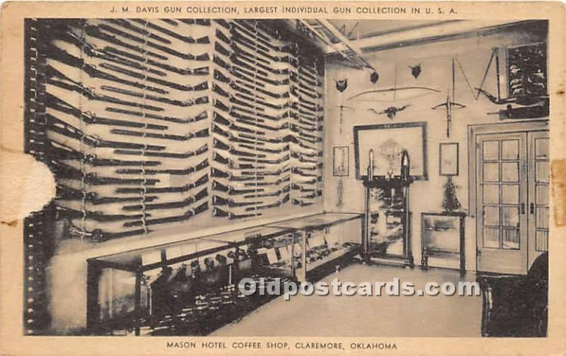 Old Vintage Hunting Postcard Post Card Mason Hotel Coffee Shop Claremore, Okl...