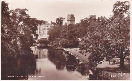 England Warwick Castle From The Bridge Real Photo