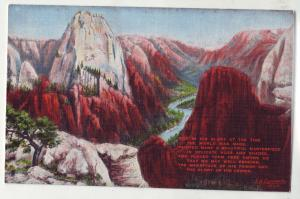 P426 JL linen postcard from a painting by L.H. dude zion national park