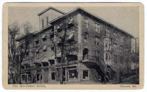 1915-1930 Hancock MD The Monterey Hotel Washington County House RARE WB Postcard