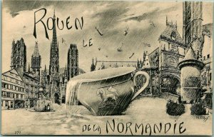 Vintage 1910s ROUEN, Normandy FRANCE Postcard Artist-Signed Scene Teacup Rain