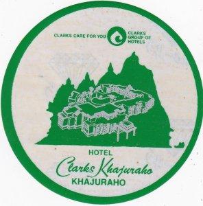 India Khajuraho Clarks Khajuraho Hotel Diameter Vintage Luggage Label sk3566