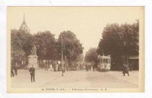 Busy Street Scene w/ Autos & Trolley / L'Avenue Gramment,Tours,France 1900-10s