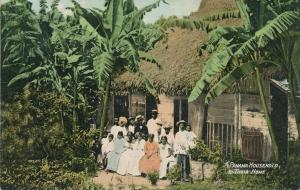 Thatched Roof Home of Family - Household - Panama Central America - pm 1909 - DB
