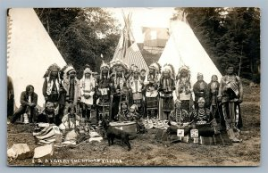 AMERICAN INDIAN VILLAGE GROUP w/ DOG ANTIQUE REAL PHOTO POSTCARD RPPC SALEM OR