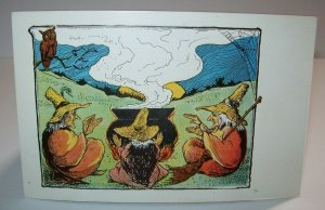 Vintage Halloween Postcard 3 Witches At Cauldron Non Posted Gothic Art Antique