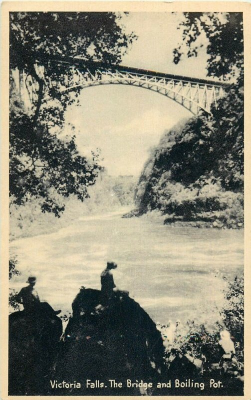 Victoria Falls the bridge and boiling pot Zambia early postcard