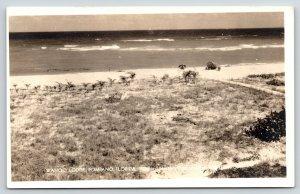 Pompano Florida~Wahoo Lodge Rough Path to Ocean Beach~Umbrellas~1930s RPPC