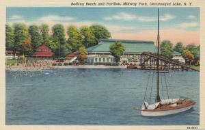 CHAUTAUQUA LAKE, New York, 1930-40s; Bathing Beach & Pavilion, Midway Park
