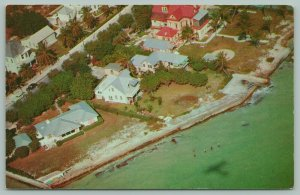 Key West Florida~Aerial View~Southernmost Houses~Mansion~Beaches~Ocean~1950s