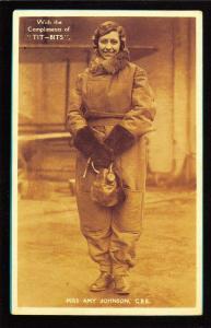 Nostalgia Postcard Solo Aviator Amy Johnson Reproduction Card NS12