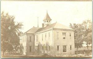 WELDON, Iowa RPPC Real Photo Postcard SCHOOL BUILDING Street View c1910s