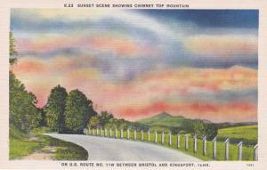 Sunset over Chimney Top Mountain near Kingsport TN, Tennessee - Linen