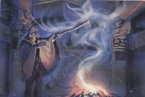 Indian Shaman Art postcard , 1994 : Mystery Lodge Version - 2