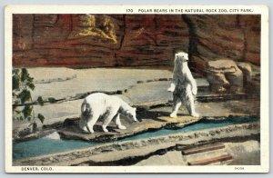 Denver Colorado~City Park~Natural Rock Zoo Polar Bears~1931 Linen Postcard