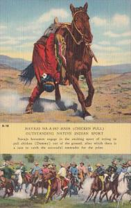 Navajo Na-A-Ho'-Haih Chicken Pull Outstanding Native Indian Sport Curteich