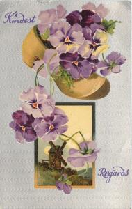 BB London~Purple Lavender Pansies Fill and Spill Out Wooden Shoe~Dutch Windmill