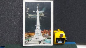 STD Vintage Soldiers and Sailors Monument Night View Indianapolis Indiana Posted