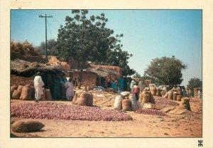 Niger Serifaoua market near Galmi violet onions culture postcard