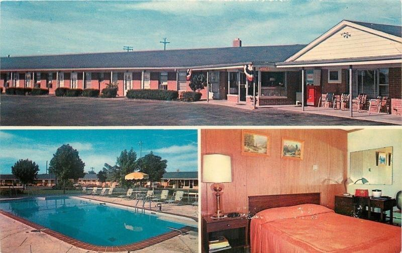 Greenwood Indiana Red Bedspread Empty Pool Wilsonian Motel E Machine 1950s