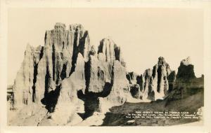 South Dakota Badlands~Real Photo Postcard~Sphinx Twins in Castle Land 1926-40s