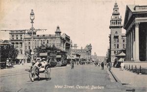 South Africa Durban West Street Central rickshaw tramways postcard