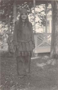 E14/ Native American Indian RPPC Postcard c1910 Girl Costume 7