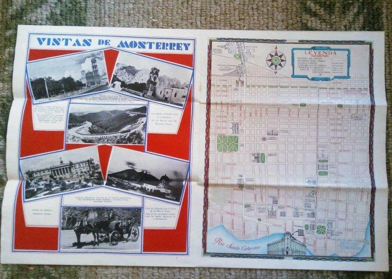 1930's Gran Hotel Ancira Monterrey Mexico MAP~ Map of Mexico and Monterrey