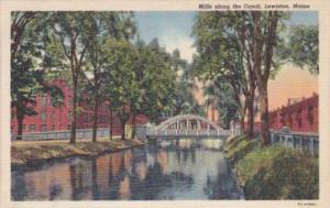 Maine Lewiston Mills Along The Canal Curteich