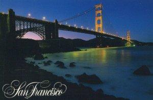San Francisco, California Golden Gate Bridge at night Postcard