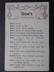 Verse & Poem: DON'T, Don't Hurry, Don't Speak Loudly...... Old Postcard