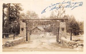 C75/ Idyllwild Pines California Ca Postcard Real Photo RPPC Entrance Arch Sign