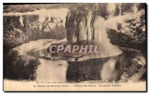 Old Postcard Dauphine La Balme Les Grottes Inside the Caves The large fountain