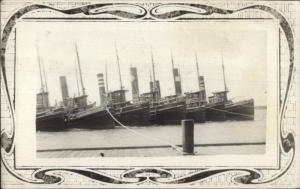Ships - Woods Hole Cape Cod MA Vessels c1910 Real Photo Postcard
