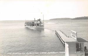 Lake Okoboji IA~Steamboat Queen, Full of Passengers Approaches Landing~RPPC 1945