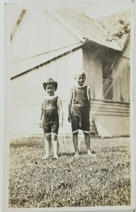 Rppc Children Bathing Suits Summer Fun with the Sprinkler in Yard Postcard O16