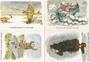Scottish Scotland Boat Raincoat Fishing 4x Comic Postcard