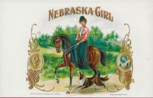 H-018 - Nebraska Girl Handmade Antique Cigar Box Label Postcard
