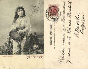 turkey, CONSTANTINOPLE, Beautiful Oriental Girl (1908) Postcard