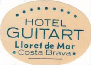 SPAIN COSTA BRAVA HOTEL GUITART VINTAGE LUGGAGE LABEL