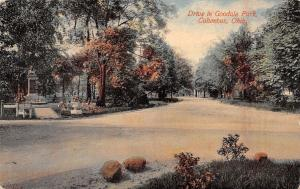 Columbus Ohio~Goodale Park Drive~Fenced in Statue~Flower Urns~1914 Postcard